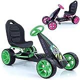 Hauck Go-Kart Sirocco für Kinder von 4-12 Jahren , Tretauto mit automatischer Freilaufschaltung , Verstellbarer Schalensitz , Kugelgelagerte Räder , EVA-Bereifung - Grün/Schwarz